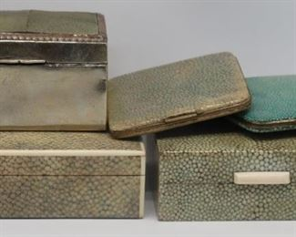 SILVER Assorted Shagreen Decorative Boxes