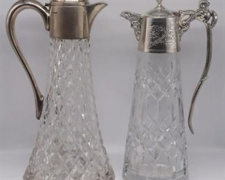 SILVER English Silver Mounted Claret Jugs