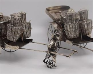 SILVER Pair of Lee Yee Hing Silver Rickshaw Sets