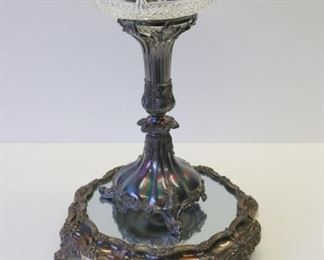 Silverplate Cut Glass Tazza And Mirrored Base
