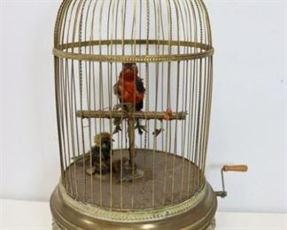 th Century French Gilt Metal Bird Cage Automaton