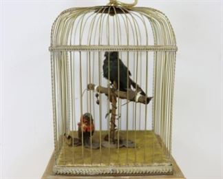 th Century French Gilt Wood Bird Cage Automaton