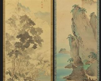 Two Japanese Landscapes as Hanging Scrolls