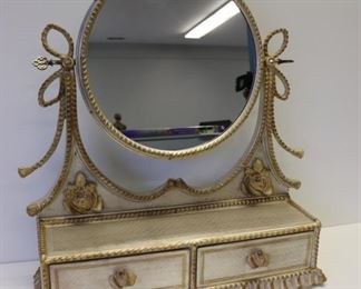 Vintage Paint Decorated Table Top Vanity Mirror