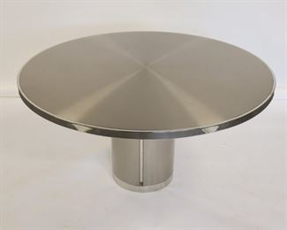 Vintage Polished Steel And Chrome Pedestal Table