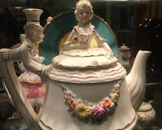 Victorian Lady and Butler Tea Pot and Music Box - Beautiful!