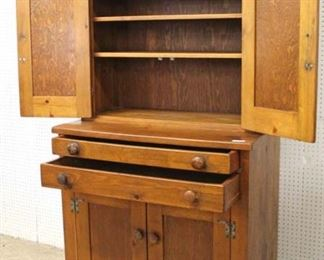 ANTIQUE Pine 4 Door 2 Drawer Country Style Blind Door China Cabinet  Auction Estimate $200-$400 – Located Inside