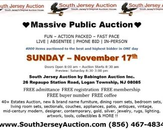 Facebook South Jersey Auction November 17th Center