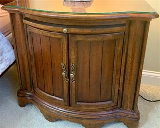 """(2) 34"""" x 18""""d x 31""""H Night Stands with pull out work surface & glass tops.  Universal by Marshall Fields $135 each"""