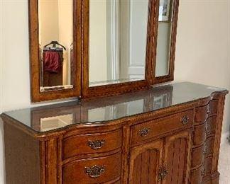 """72""""L x 20"""" D x 35.5 H Marshall Fields - Universal triple dresser with mirror $395."""