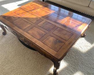 "Henredon Solid Maple with Walnut Veneer 50"" x 39.5 x 16""h Coffee Table $200"