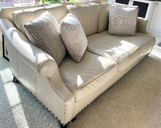 "96"" long x 46"" wide Walter E Smith Deep Leather Sofa Couch with grommet trim & throw pillows $1295.00"