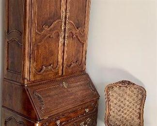 "Henredon solid maple w/ walnut veneer secretary desk 89""h x 20"" deep x 38w $450 Accompanying chair $75"