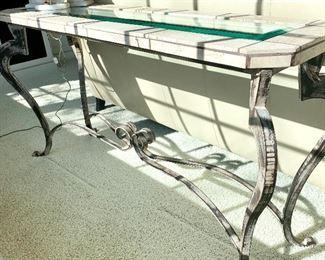 Glass top sofa table 16D x 60L x 32H $200