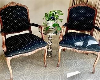 2 wood trim upholstered seat arm chairs from Colby Furniture $125 ea. Both for $200