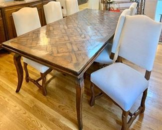"""Henredon 84"""" x 42"""" Rectangle Dining Table with pullout leaves (stored under table top) w/ 6 wood arm chairs with ivory upholstered backs & seats $995 for set"""