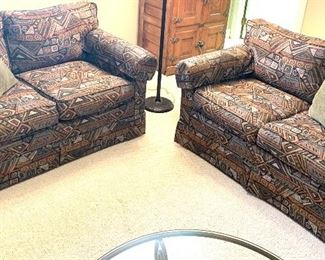 """2 upholstered love seats 60"""" L x 34"""" deep $150 each. Both for$250"""