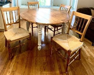 "Plunkett 53"" Round Country French Dining Table with ((2) 20"" leaves & 4 Cane Seat Chairs Table $450, Chairs $95 each Complete set $795"