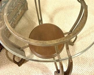 """27.5"""" round glass top end table $65"""