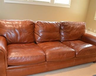 """American Leather tobacco colored leather sofa.  89"""" x 39"""".  Some scratches on sides and back."""