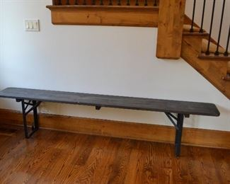 """Blue washed wooden bench with wrought iron legs.  86.5"""" x 10.5"""" x 18.75"""""""