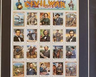 Framed Civil War reproduction stamps