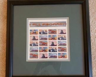 Framed All Aboard stamps
