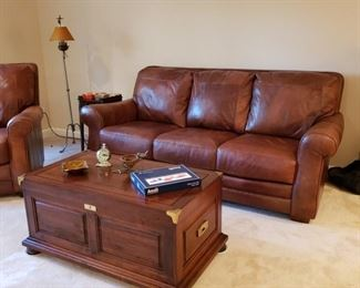 Lane Leather sofa and a trunk/coffee table the clients purchased from me years ago!
