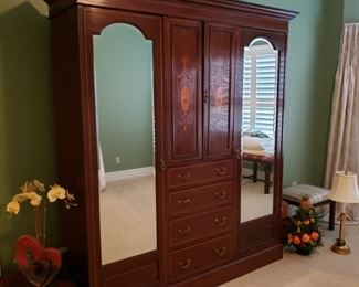 Wonderful antique inlaid mahogany English Edwardian style armoire, also purchased from Mary Anne Kovac