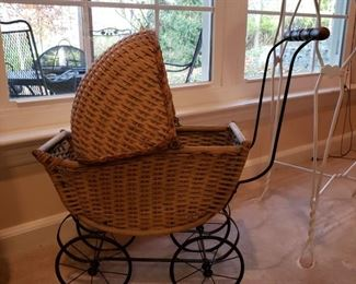 Vintage wicker doll buggy
