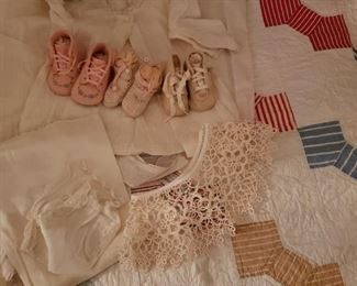 Vintage baby shoes and baby quilts