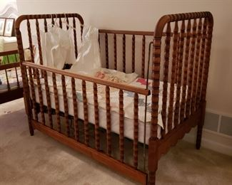 Vintage Jenny Lin walnut baby bed