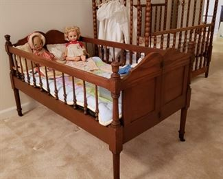 Antique collapsible walnut bed