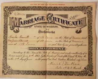 Vintage Marriage Certificate