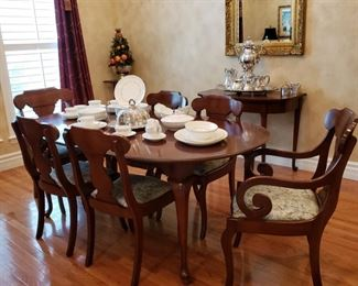 Mahogany table, two armchairs and four side chairs also purchased from M.J.'s Estate Sales