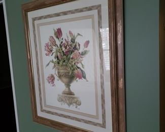 One of two framed floral prints