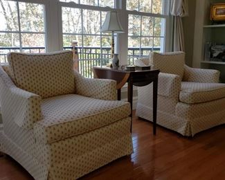 Pair of upholstered armchairs and a dropleaf side table
