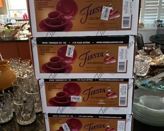 Four boxes of Fiesta china