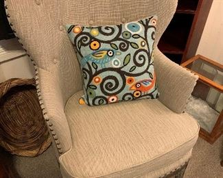 Matching Modern Chairs.  So Comfortable!  Variety of fabulous wool blend pillows!