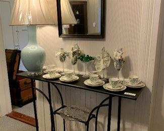 Unique Metal Table with Handpainted English China