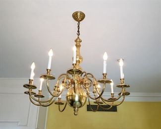 Three 10 light brass chandeliers, appr. 42 inches in diameter