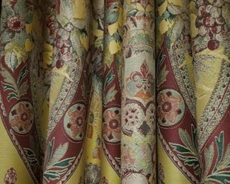 Two pair of Damask custom made draperies, appr. 161 inches wide