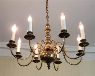 Two 8 light brass chandeliers, appr. 30 inches wide