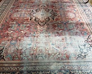 Antique Persian handmade room rug, appr. 12 feet 3 inches by 10 feet 6 inches, very worn but cool!