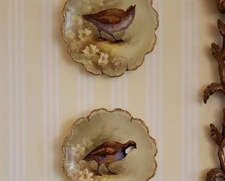 Four French Limoges antique hand painted porcelain bird plates