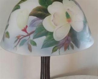 Reverse painted antique lamp