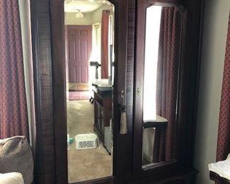 Incredible mahogany wardrobe/ar moire  Circa 1880