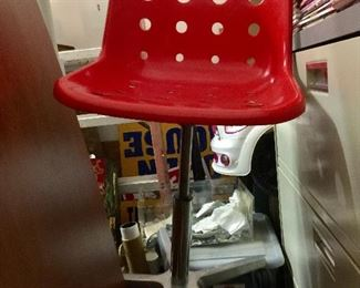 Molded Red Chair/ Model Loft Metal Base by Robin Day Design