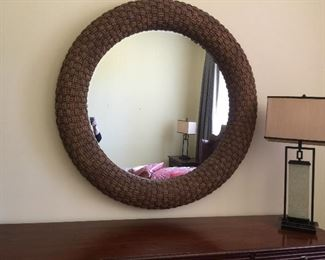 "Nautica Huge Woven 50""Round Mirror by Lexington"