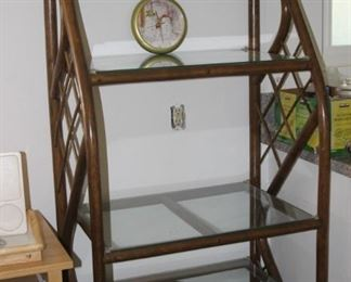 One of two bamboo and glass shelves.